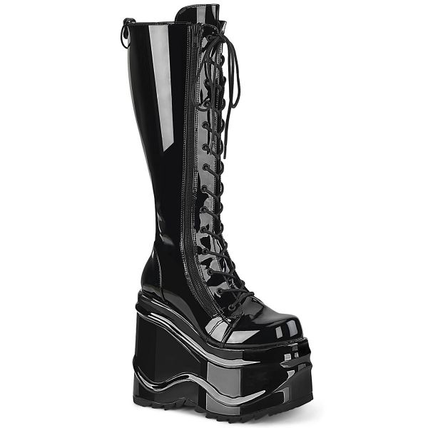 Product image of Demonia WAVE-200 Black Patent 6 inch Wedge Platform Lace-Up Knee High Boot Back Metal Zip