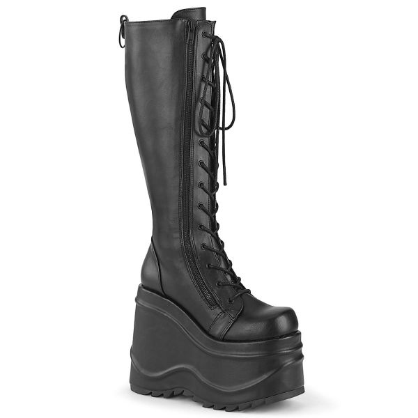 Product image of Demonia WAVE-200 Black Vegan Faux Leather 6 inch (15.2 cm) Wedge Platform Lace-Up Knee High Boot Back Metal Zip