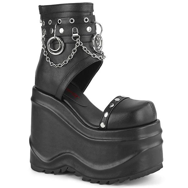 Product image of Demonia WAVE-22 Black Vegan Faux Leather 6 inch (15.2 cm) (152Mm) Wedge Platform Bootie Sandal Back Zip
