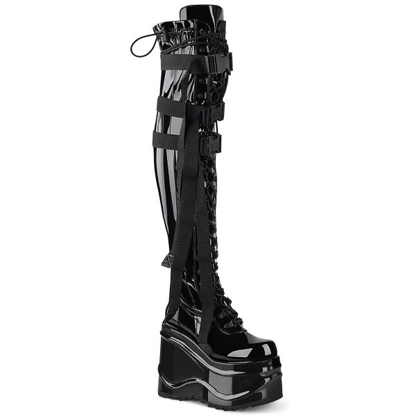 Product image of Demonia WAVE-315 Black Stretch Patent 6 inch (15.2 cm) Wedge Platform Lace-Up Stretch Thigh Boot Side Zip