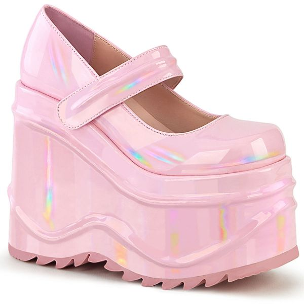 Product image of Demonia WAVE-32 Baby Pink Holographic 6 inch (15.2 cm) Wedge Platform Maryjane