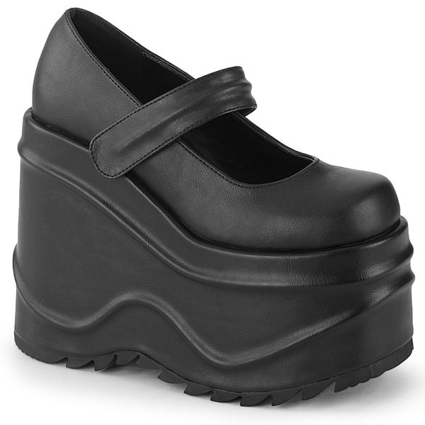 Product image of Demonia WAVE-32 Black Vegan Faux Leather 6 inch (15.2 cm) Wedge Platform Maryjane