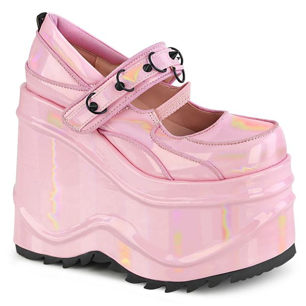 Product image of Demonia WAVE-48 Baby Pink Holographic Patent 6 inch (15.2 cm) Wedge Platform Maryjane