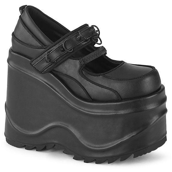 Product image of Demonia WAVE-48 Black Vegan Faux Leather 6 inch (15.2 cm) Wedge Platform Maryjane