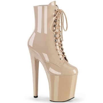 Product image of Pleaser XTREME-1020 Nude Patent/Nude 8 inch (20 cm) Heel 4 inch (10 cm) Platform Lace-Up Front Ankle Boot Side Zip