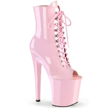 Product image of Pleaser XTREME-1021 Baby Pink Patent/Baby Pink 8 inch (20 cm) Heel 4 inch (10 cm) Platform Peep Toe Lace-Up Ankle Boot Side Zip