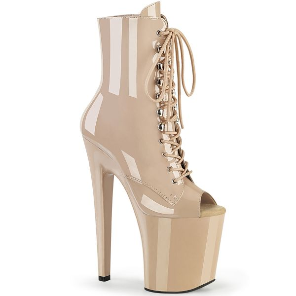 Product image of Pleaser XTREME-1021 Nude Patent/Nude 8 inch (20 cm) Heel 4 inch (10 cm) Platform Peep Toe Lace-Up Ankle Boot Side Zip