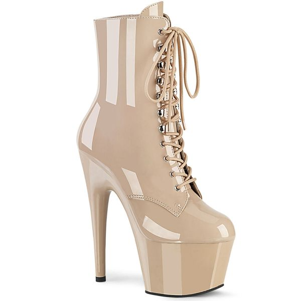 Image of Pleaser ADORE-1020 Nude Pat/Nude 7 Inch Heel 2 3/4 Inch PF Lace-Up Ankle Boot Side Zip