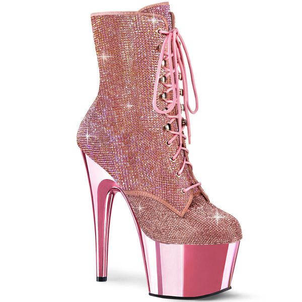 Image of Pleaser ADORE-1020CHRS B. Pink RS/B. Pink Chrome 7 Inch Heel  2 3/4 Inch PF RS Embellished Ankle Boot Side Zip
