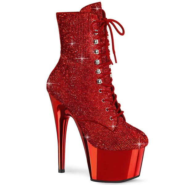 Image of Pleaser ADORE-1020CHRS Red RS/Red Chrome 7 Inch Heel  2 3/4 Inch PF RS Embellished Ankle Boot Side Zip