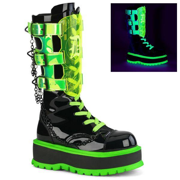 Image of Demonia SLACKER-156 Blk Pat-UV Neon Green 2 Inch PF Lace-Up Mid-Calf Boot Metal Side Zip