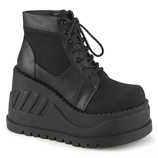 Image of Demonia STOMP-10-1 Blk Canvas-Vegan Leather **4 3/4 Inch Wedge PF Lace-Up Bootie