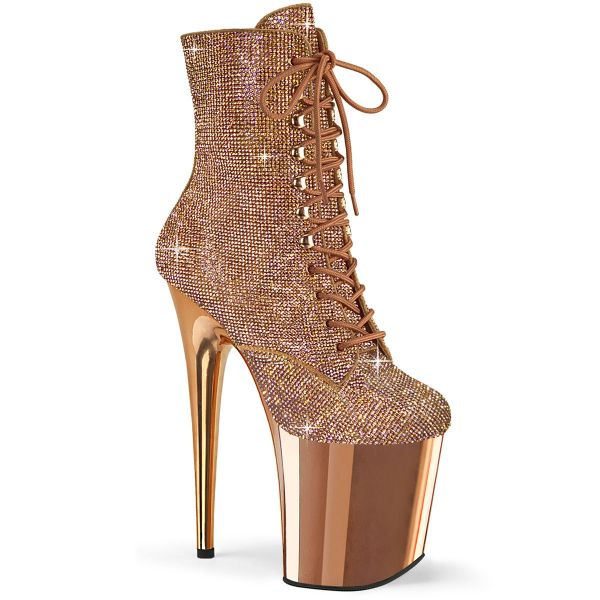 Image of Pleaser FLAMINGO-1020CHRS Rose Gold RS/Rose Gold Chrome 8 Inch Heel  4 Inch PF Lace-Up RS Embellished Ankle Boot Side Zip