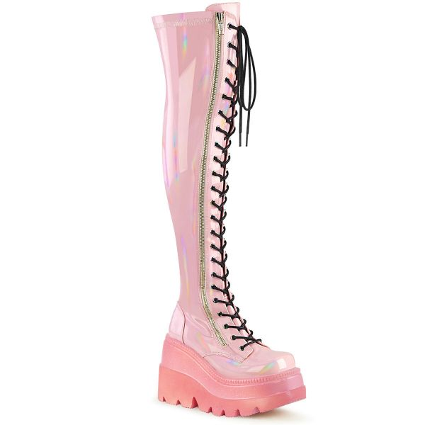 Image of Demonia SHAKER-374-1 B. Pink Hologram Stretch Patent **4 1/2 Inch Wedge PF Lace-Up Thigh-High Boot Outside Zip