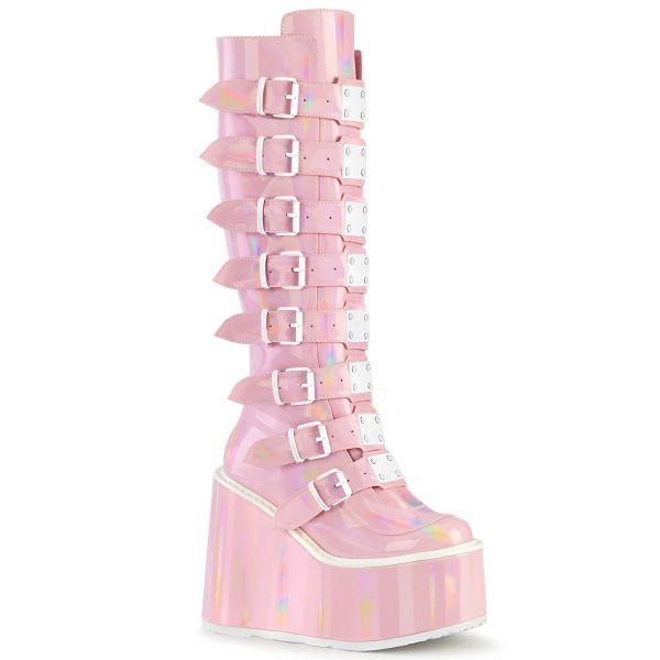 Image of Demonia SWING-815 B.Pink Hologram 5 1/2 Inch PF Knee High Boot w/ 8 Buckle Straps Back Metal Zip