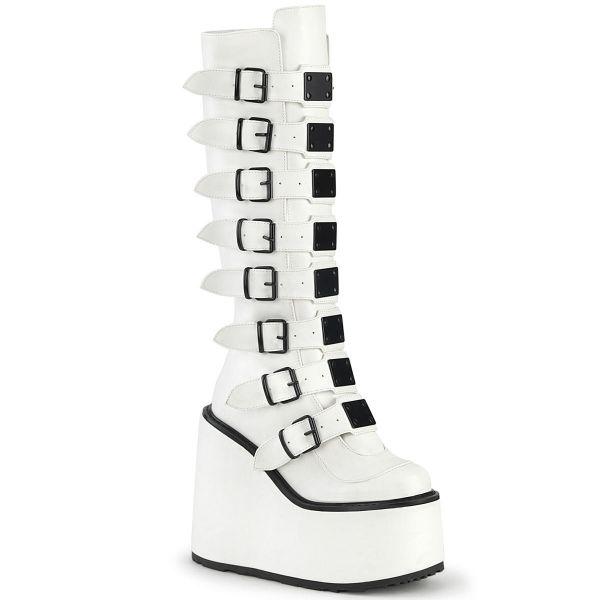 Image of Demonia SWING-815 Wht Vegan Leather 5 1/2 Inch PF Knee High Boot w/ 8 Buckle Straps Back Metal Zip