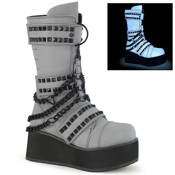 Image of Demonia TRASHVILLE-138 Grey Multi Reflective Vegan Leather 3 1/4 Inch PF 3 Hook and Loop Strap Mid-Calf Boot Back Zip