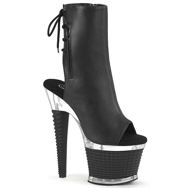 Image of Pleaser SPECTATOR-1018 Blk Faux Leather/Clr-Blk Matte 7 Inch Heel 3 Inch Textured PF Open Toe/Heel Ankle Boot Side Zip