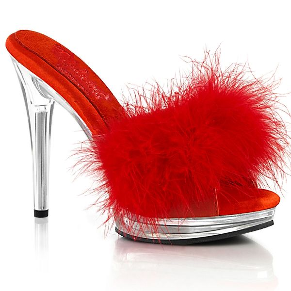 Image of Fabulicious GLORY-501F-8 Red Faux Leather-Fur/Clr 5 Inch Heel 3/4 Inch PF Marabou Slipper