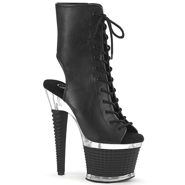 Image of Pleaser SPECTATOR-1016 Blk Faux Leather/Clr-Blk Matte 7 Inch Heel 3 Inch Textured PF Open Toe/Heel Ankle Boot Side Zip